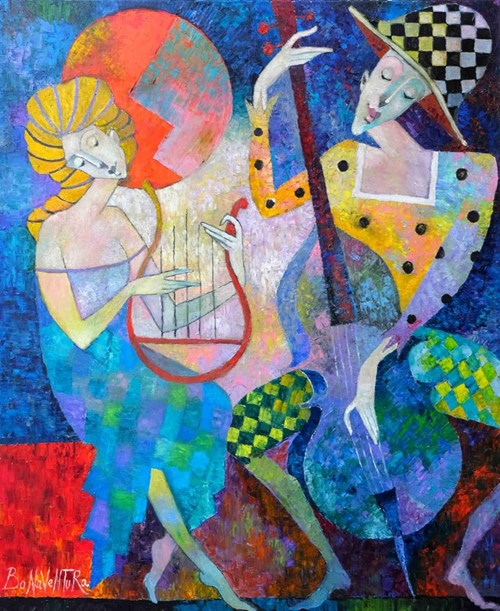 Living room painting by Jan Bonawentura Ostrowski titled Musicians