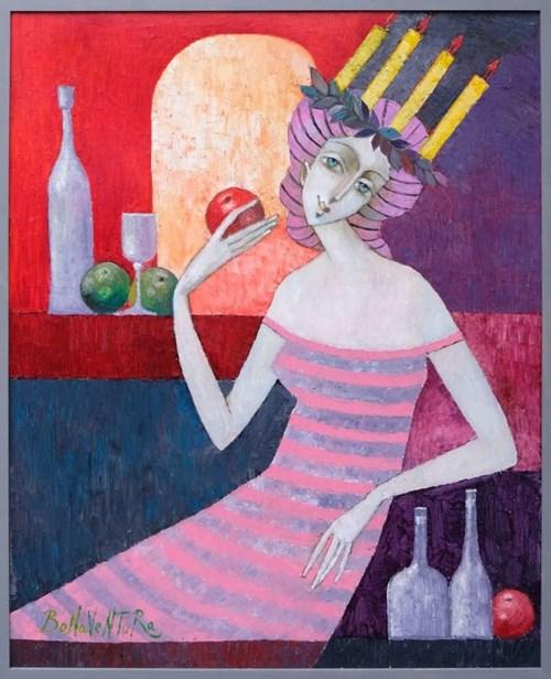 Obraz do salonu artysty Jan Bonawentura Ostrowski pod tytułem Dziewczyna z wieńcem