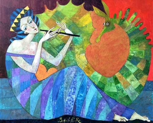 Obraz do salonu artysty Jan Bonawentura Ostrowski pod tytułem Dziewczyna ze smokiem