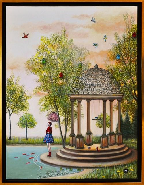 Living room painting by Magdalena Zalewska titled Bird Paradise
