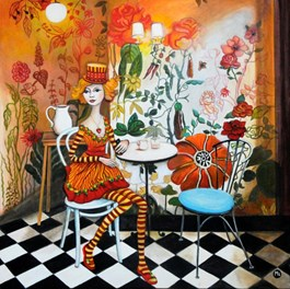 Living room painting by Magdalena Zalewska titled Girl in Flowers