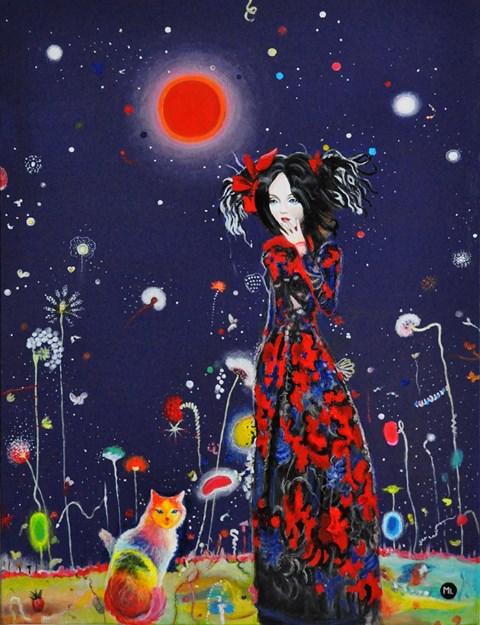 Obraz do salonu artysty Magdalena Zalewska pod tytułem Kobieta z kotem