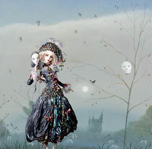 Living room painting by Magdalena Zalewska titled Mascarade