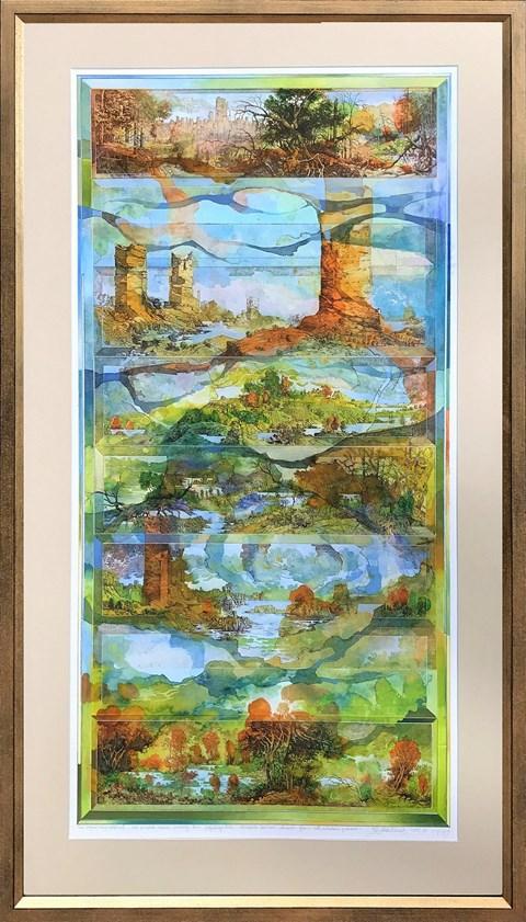 Obraz do salonu artysty Krzysztof Wieczorek pod tytułem Sześć pejzaży horyzontalnych lub początek i koniec pierwszego dnia pogodnego lata