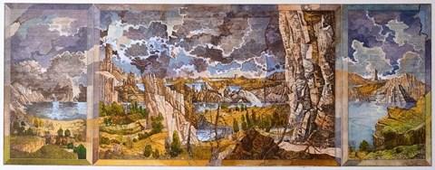 Obraz do salonu artysty Krzysztof Wieczorek pod tytułem Skalisty pejzaż z dwoma drzewami i zamkiem w oddali