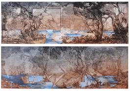 Grafika do salonu artysty Krzysztof Wieczorek pod tytułem Dwa pejzaże horyzontalne i szkic niderlandzki (dyptyk)