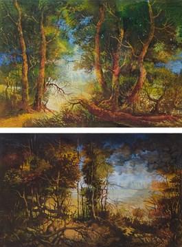 Grafika do salonu artysty Krzysztof Wieczorek pod tytułem Pejzaż Nocny, Pejzaż Mroczny (dyptyk)