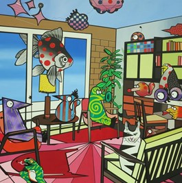 Living room painting by Marcin Błach titled Out of My Mind