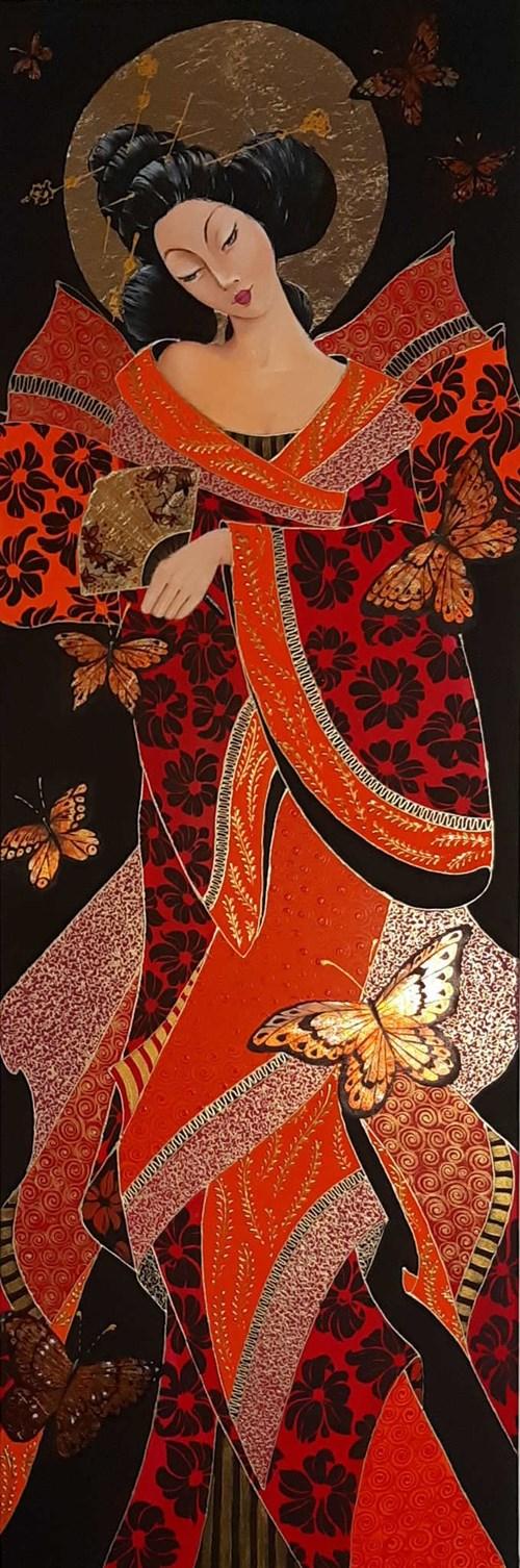 Obraz do salonu artysty Iwona Wierkowska-Rogowska pod tytułem Gejsza i motyle