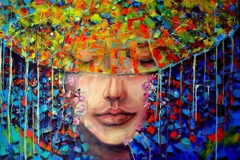 Obraz do salonu artysty Łukasz Jankiewicz pod tytułem Kobieta w kapeluszu