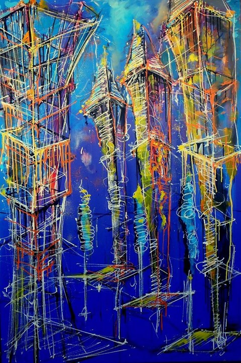 Obraz do salonu artysty Łukasz Jankiewicz pod tytułem DNA miasta