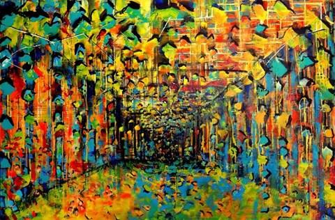 Obraz do salonu artysty Łukasz Jankiewicz pod tytułem Idąc jesienną aleją