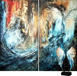 Living room painting by J. Aurelia Sikiewicz-Wojtaszek titled Mystical Shine (diptych)