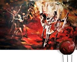Obraz do salonu artysty J. Aurelia Sikiewicz-Wojtaszek pod tytułem Wirująca poezja zmysłów (obraz i rzeźba)