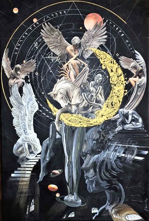 Obraz do salonu artysty J. Aurelia Sikiewicz-Wojtaszek pod tytułem Kod Wszechświata