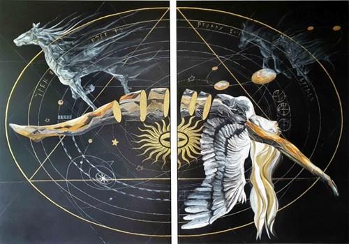 Obraz do salonu artysty J. Aurelia Sikiewicz-Wojtaszek pod tytułem Moc galaktyki II (dyptyk)