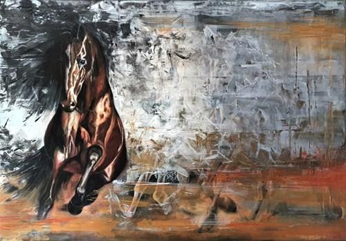 Obraz do salonu artysty J. Aurelia Sikiewicz-Wojtaszek pod tytułem Pęd rumaków