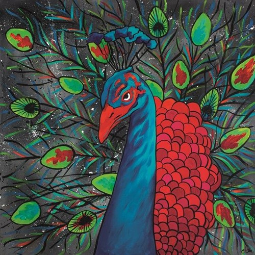 Living room painting by Monika Mrowiec titled Peacock eyes