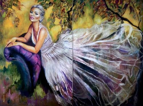 Obraz do salonu artysty Marlena Selin pod tytułem Jesienny ogród Clear (dyptyk)