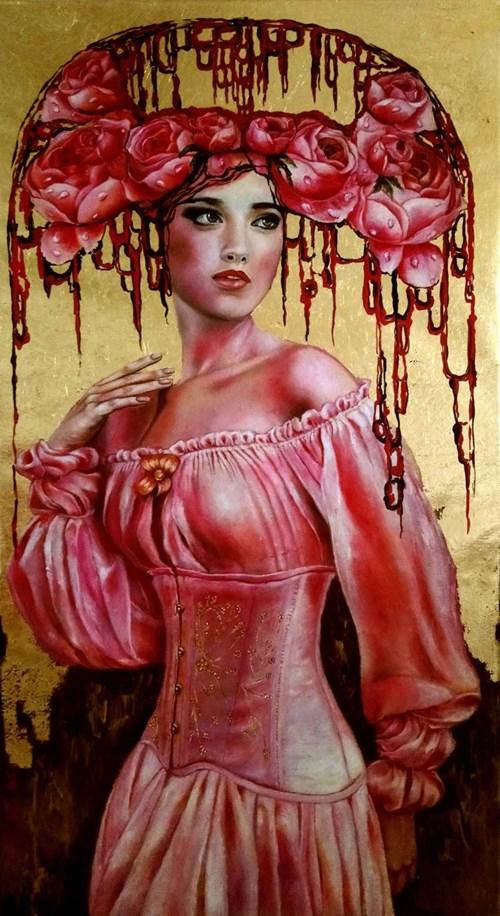Obraz do salonu artysty Marlena Selin pod tytułem Królowa Peonia