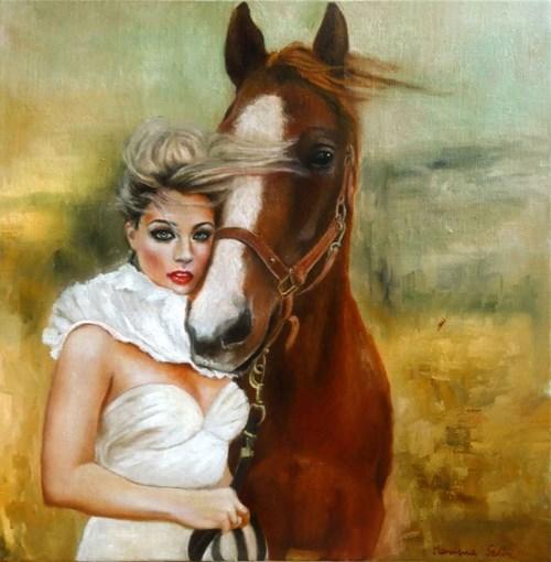 Obraz do salonu artysty Marlena Selin pod tytułem Dziewczyna i koń