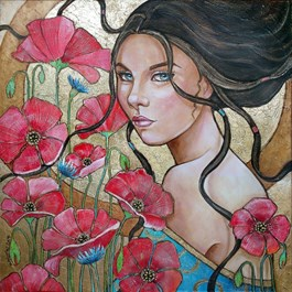 Living room painting by Joanna Misztal titled Poppy Girl