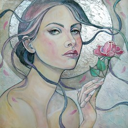 Living room painting by Joanna Misztal titled Winter Rose