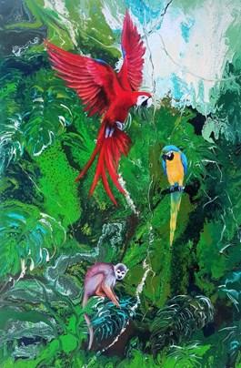 Living room painting by Patrycja Kruszynska-Mikulska titled Green Paradise