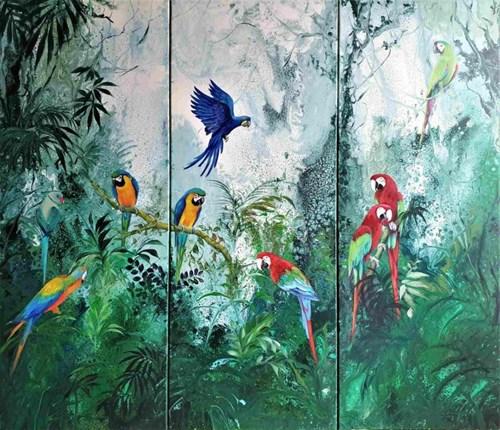 Obraz do salonu artysty Patrycja Kruszyńska-Mikulska pod tytułem Green Paradise VI (tryptyk)