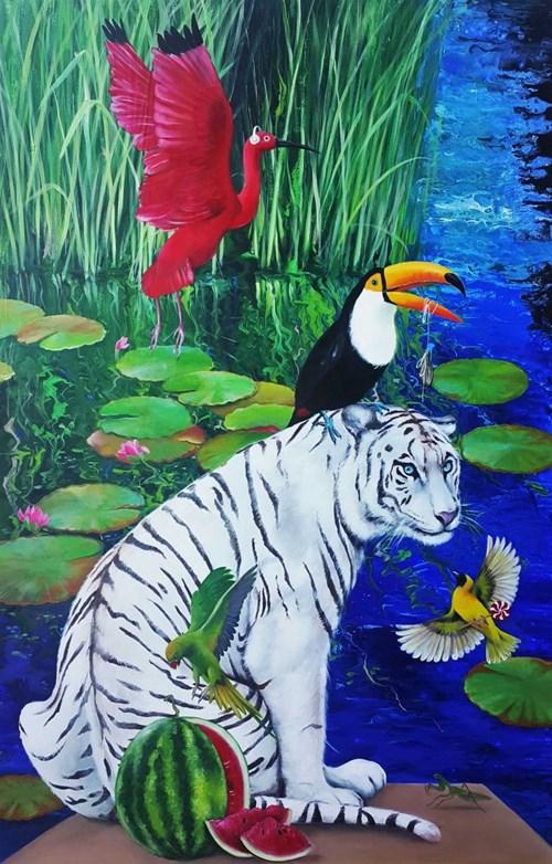 Obraz do salonu artysty Patrycja Kruszyńska-Mikulska pod tytułem Tygrys i przyjaciele