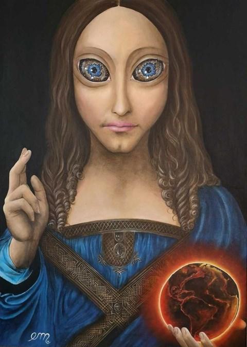 Obraz do salonu artysty Estera Parysz-Mroczkowska pod tytułem Salvator Mundi