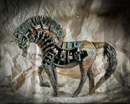 Living room sculpture by Kamila Karst titled Bucephalus