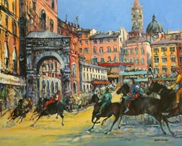 Living room painting by Piotr Rembieliński titled Palio di Siena