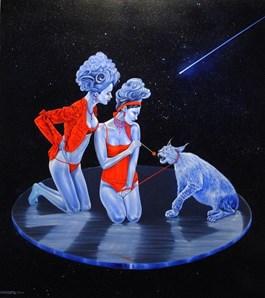 Obraz do salonu artysty Mariusz Zdybał pod tytułem Tamin the galactic lynx