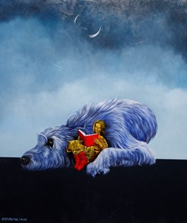 Living room painting by Mariusz Zdybał titled Goodnight fairytale