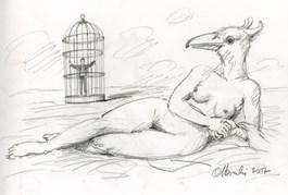 Obraz do salonu artysty Rafał Olbiński pod tytułem Bez tytułu