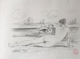 Obraz do salonu artysty Rafał Olbiński pod tytułem Akt z łabędziem