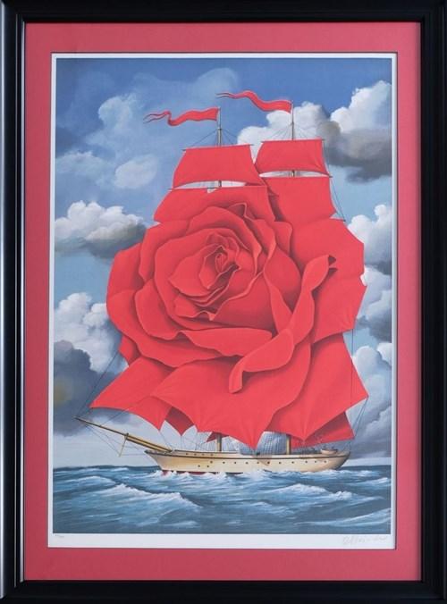 Grafika do salonu artysty Rafał Olbiński pod tytułem Red Rose Ship (122/350)