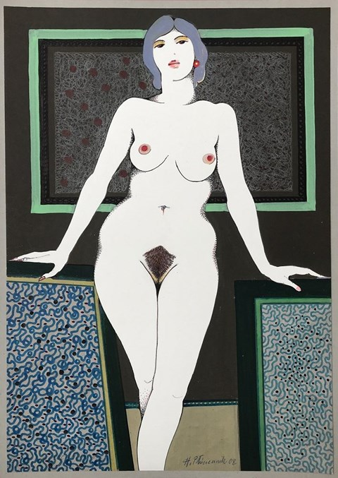 Living room painting by Henryk Płóciennik titled Nude Standing