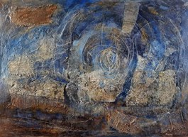 Living room painting by Krzysztof Kopeć titled Starry Night