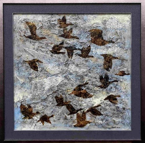 Obraz do salonu artysty Krzysztof Kopeć pod tytułem Klucze ptaków