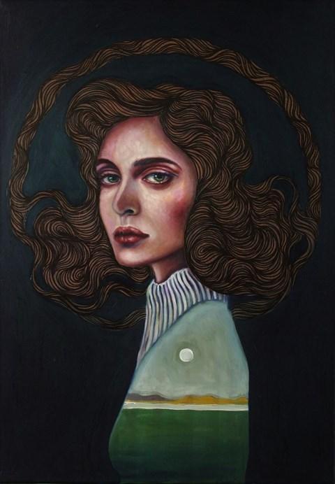 Obraz do salonu artysty Viola Bąbol pod tytułem Muza Alicja i księżycowa polana