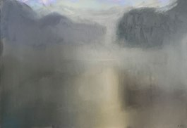 Living room painting by Stanisław Baj titled Morning, Fog on the Bug River