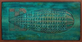Living room painting by Grzegorz Klimek titled Azure Airship