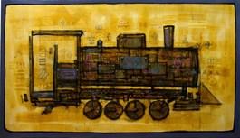 Living room painting by Grzegorz Klimek titled Locomotive II