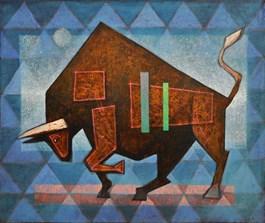 Living room painting by Grzegorz Klimek titled Bull