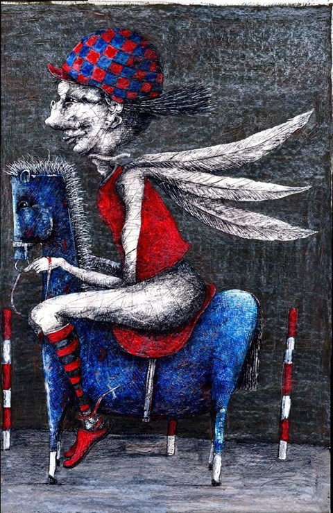 Obraz do salonu artysty Piotr Kamieniarz pod tytułem Dżokej