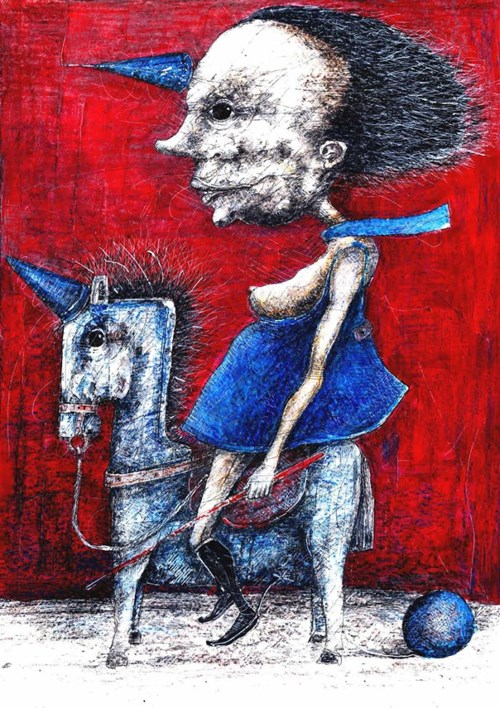 Obraz do salonu artysty Piotr Kamieniarz pod tytułem Jednorożec