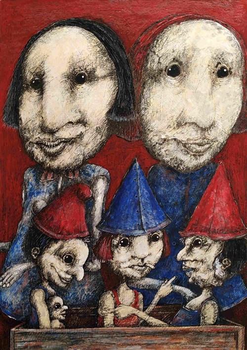 Obraz do salonu artysty Piotr Kamieniarz pod tytułem Przecież ty jako chłopiec nie powinieneś bawić się lalkami