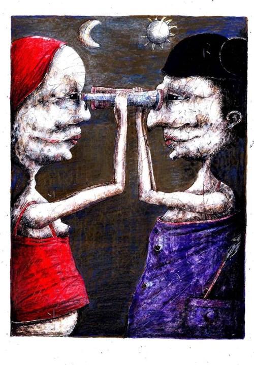 Obraz do salonu artysty Piotr Kamieniarz pod tytułem Jesteśmy zbyt daleko żeby się naprawdę dobrze poznać